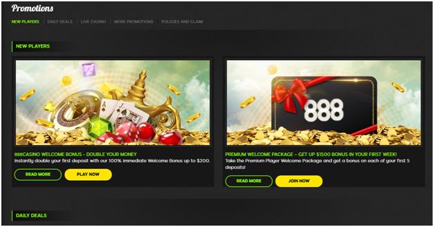 888 Casino Bonuses and offers