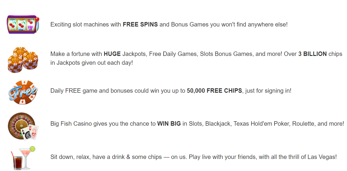 Big Fish Casino Features