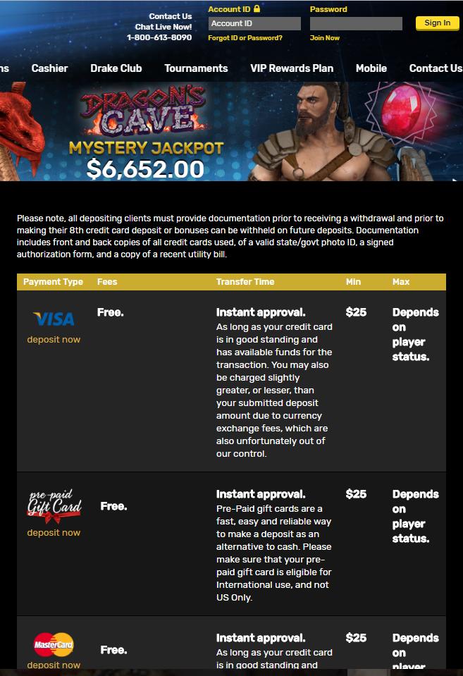 Drake Casino - deposit options
