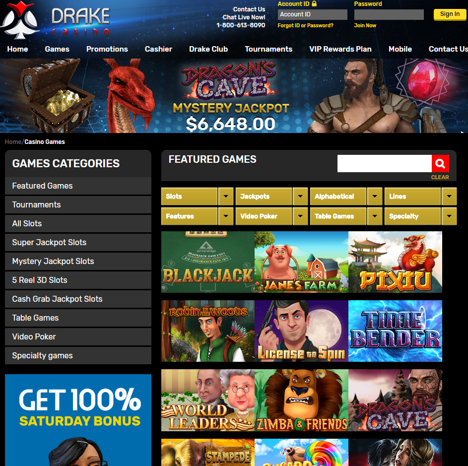 Drake Casino- Games