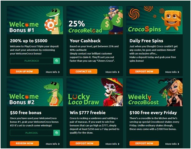 200% up to $5000 USD is welcome bonus to grab at PlayCroco Casino
