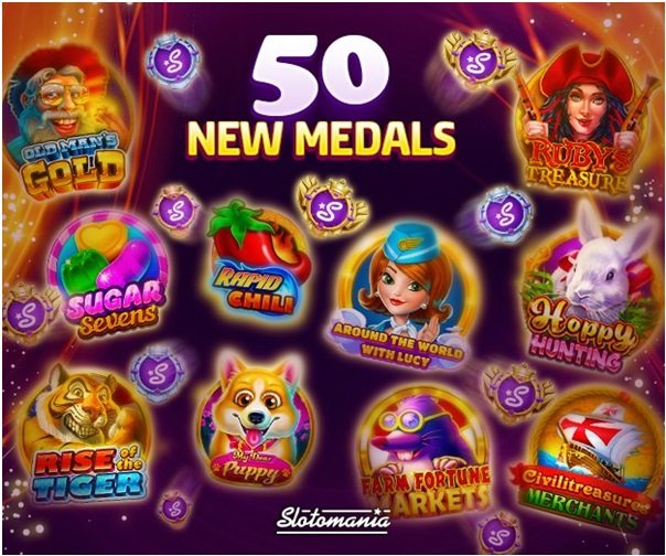 Medals in Slotomania are earned in slot machines game play