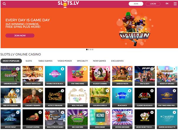 Slots.lv homepage